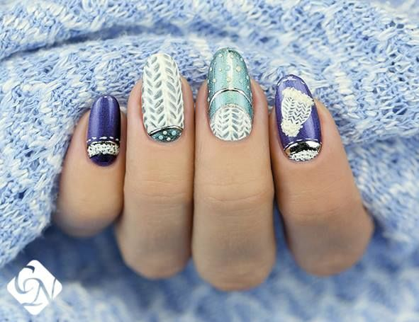 NailArt tips :  Winter top decorations- sweater design